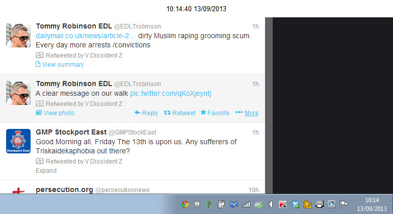 VDissidentZ Retweet of Tommy Robinson