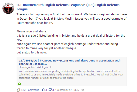 EDLBournemouth mosque planning objections