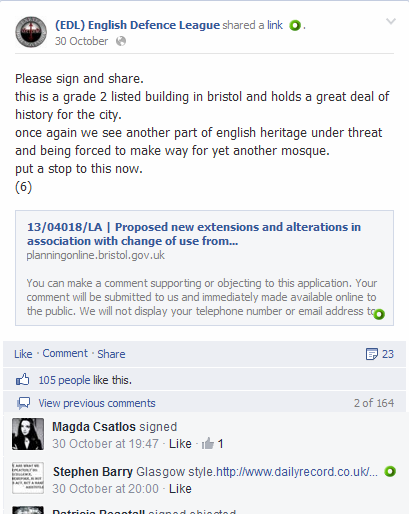 Evidence of EDL Co-ordinated Mosque Planning Application Objections