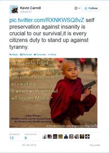 Does Kevin Carroll Regard the Murder of Rohingya Muslims as Self-Preservation?