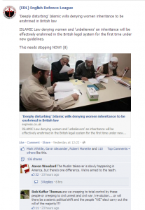 EDL comments, anti-Muslim in nature