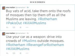Rotherham threats to Muslims