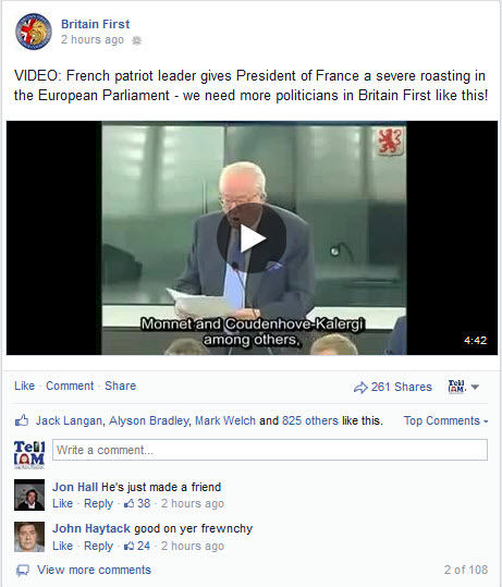 Britain First Facebook Page Praises Jean Marie Le Pen