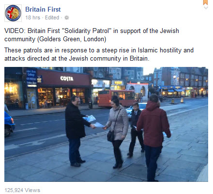 Extremist Group Britain First Parade in Golders Green Promoting 'Britain First Patrols'