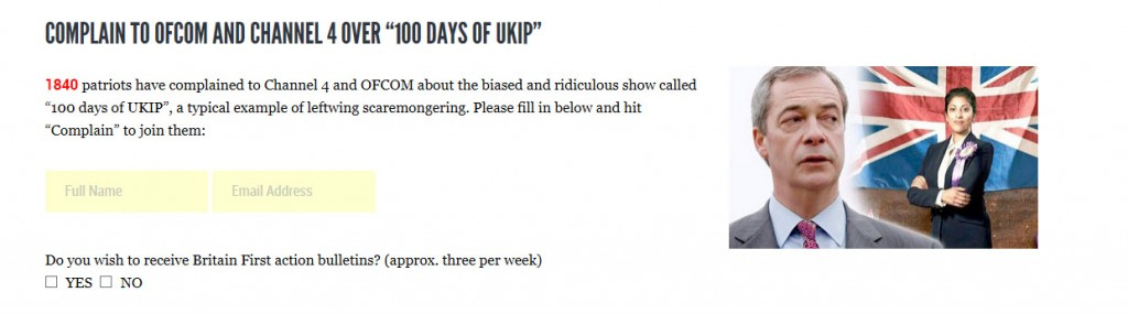 Britain First Asks Sympathisers to Complain to OFCOM About '100 Days of UKIP'