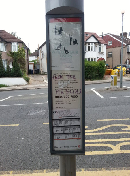 Anti-Muslim graphics bus stop