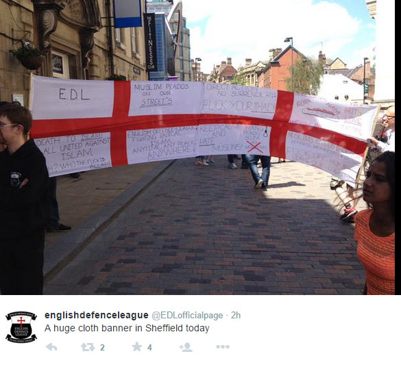 Banner Inciting Hate Unfurled by EDL in Sheffield
