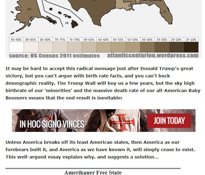 Conspiracy galore on the Knights Templar International Facebook page: Trump win forms the basis for a few more years before 'minority' demographic growth leads to the break up of the US