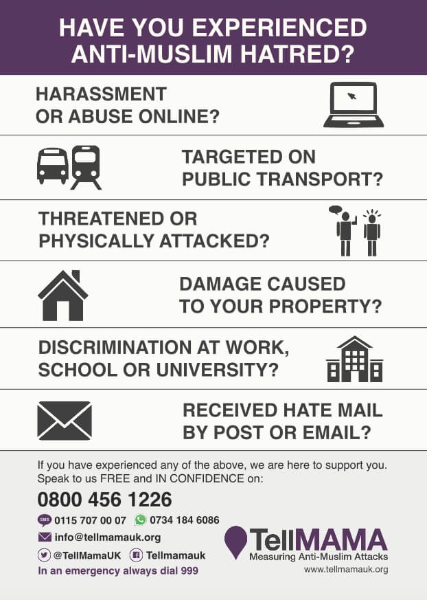 Experiencing Anti-Muslim Hate Crime? Don't suffer, TELL MAMA