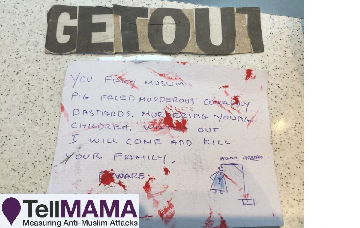 Threatening Letter With Anti-Muslim Abuse & a Hanging Person Sent to Post Office