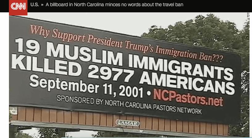 North Carolina Pastors Network Sponsors Anti-Muslim Billboards in U.S.